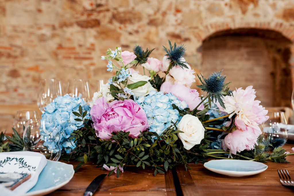 wedding centerpiece with blue and pink flowers, Barcelona Brides