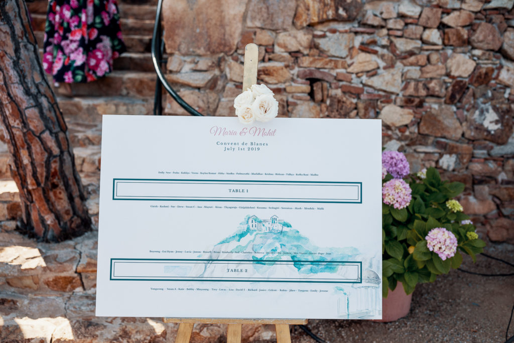 Table seating chart for wedding of Maria and Mahit at convent of Balmes, Spain