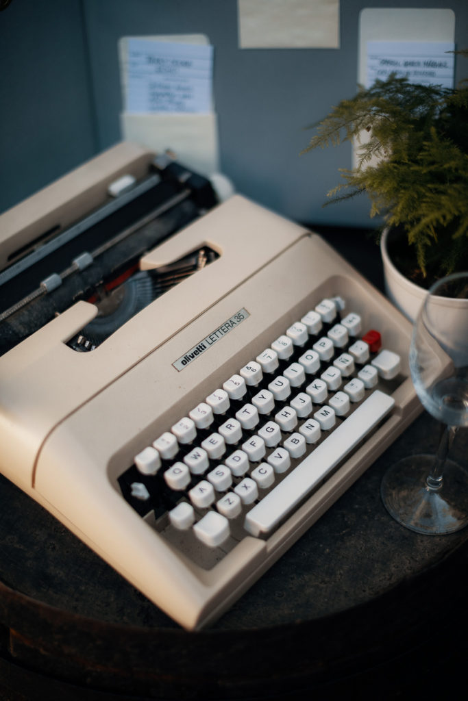 olivetti cream colored typewriter at wedding