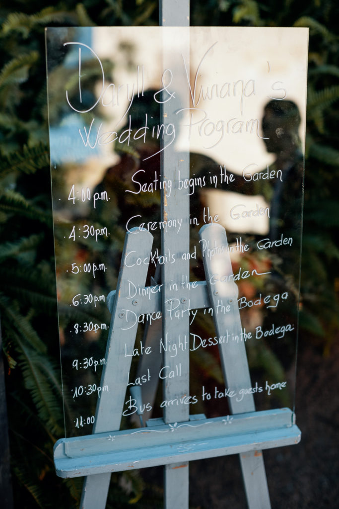 Wedding Program written on plexiglass for Daryll and Vianna