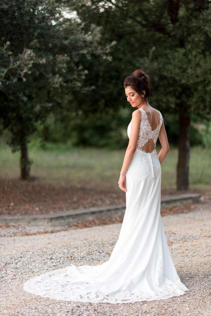 bridal portrait in lace gown from the back
