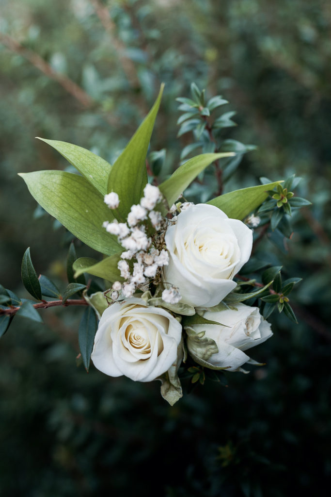 boutonniere made of white roses and babys breath