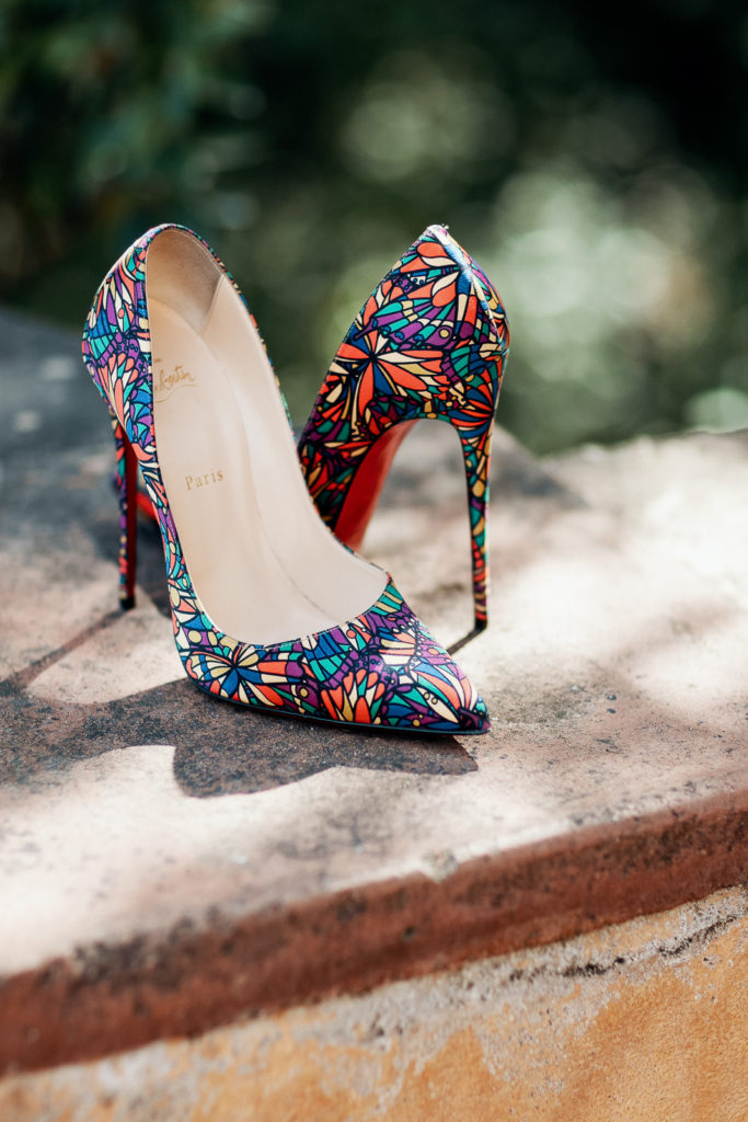 brides high heel christian louboutin shoes with stained glass window pattern