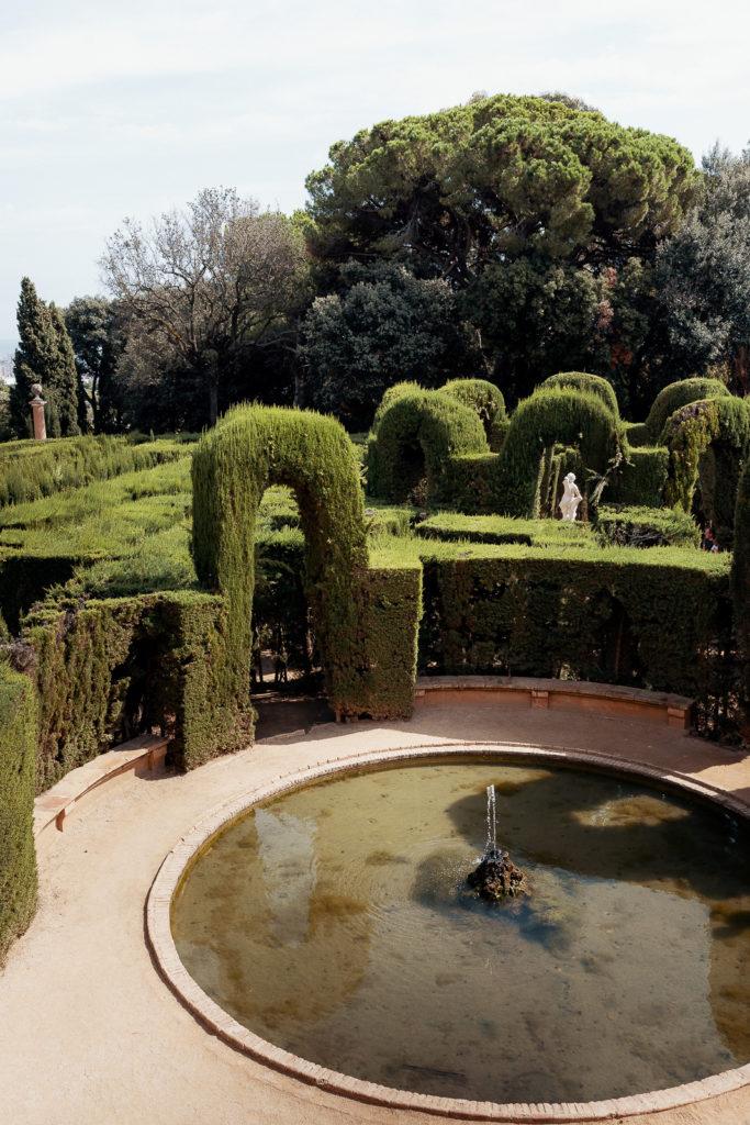 fountain in labyrinth park barcelona spain