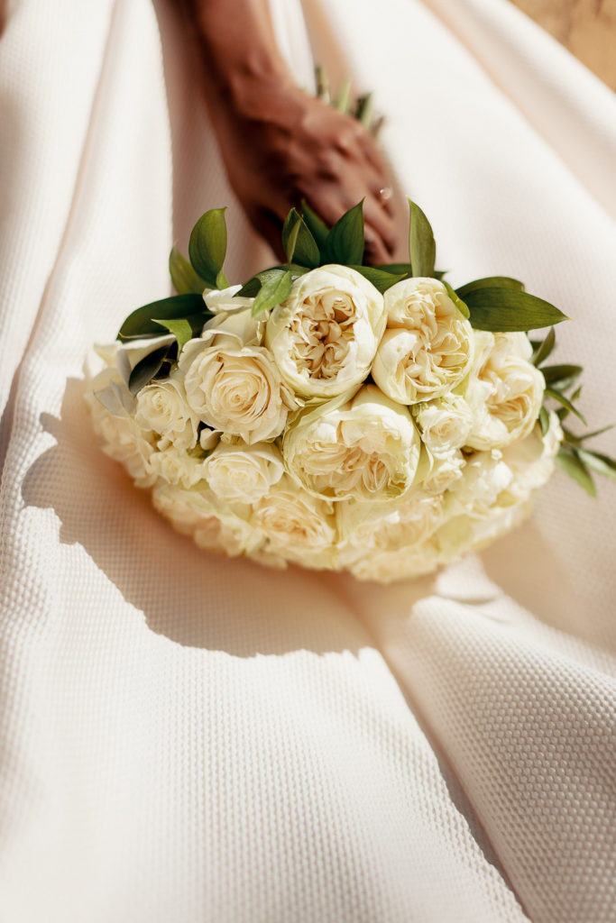 bridal bouquet made of white roses