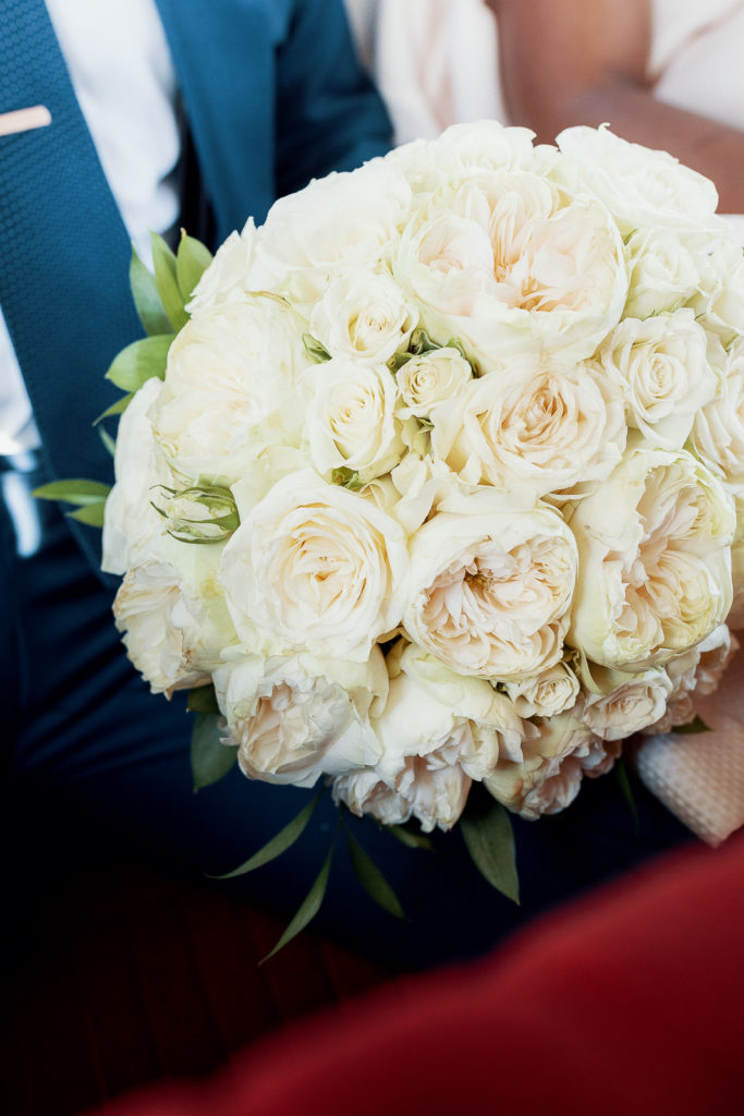 wedding bridal bouquet made of all white flowers