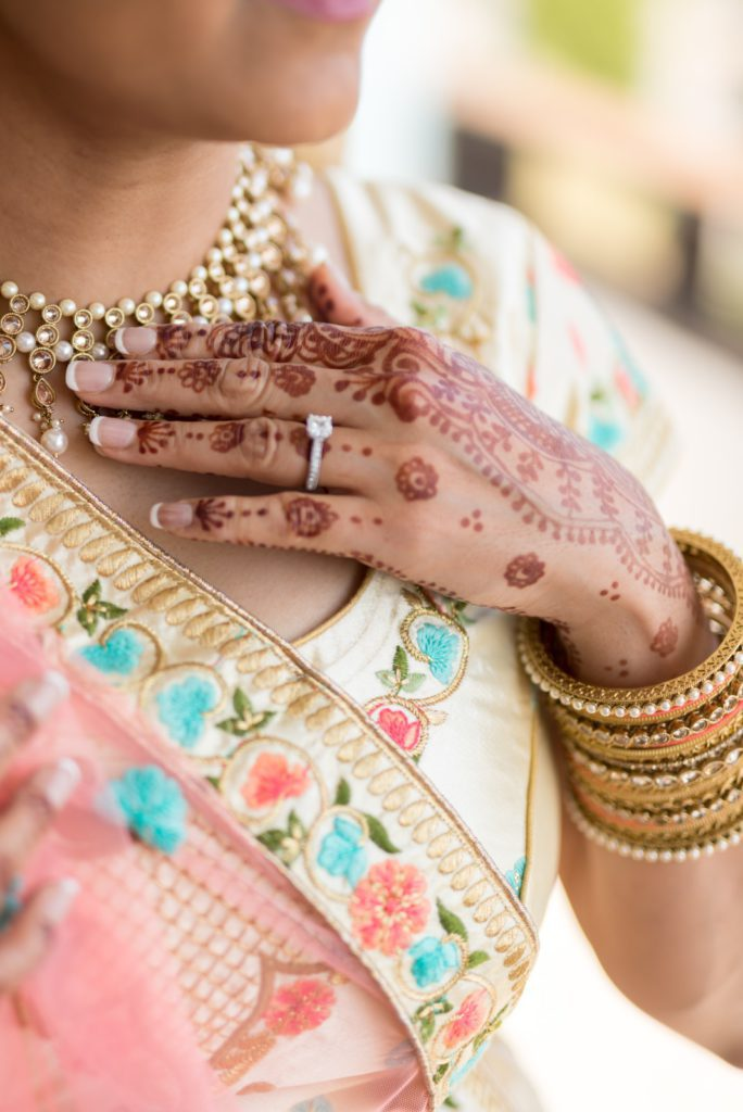 Bride with bridal henna on her hand. Planning an Indian Wedding