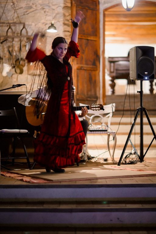 flamenco dancer and guitarist perform for wedding guests, casa felix, barcelona, spain