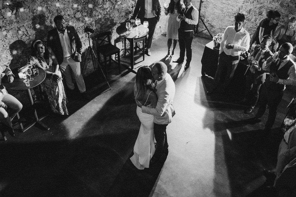 bride and groom first dance inside casa felix, barcelona brides