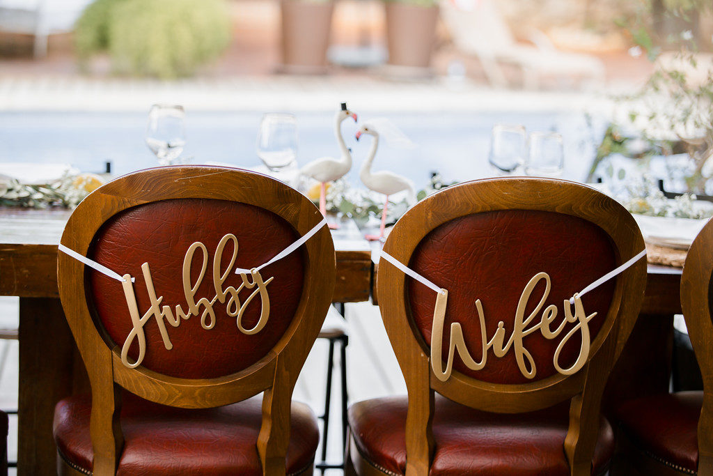 chair decoration signs saying Hubby and Wifey for wedding, casa felix, barcelona brides