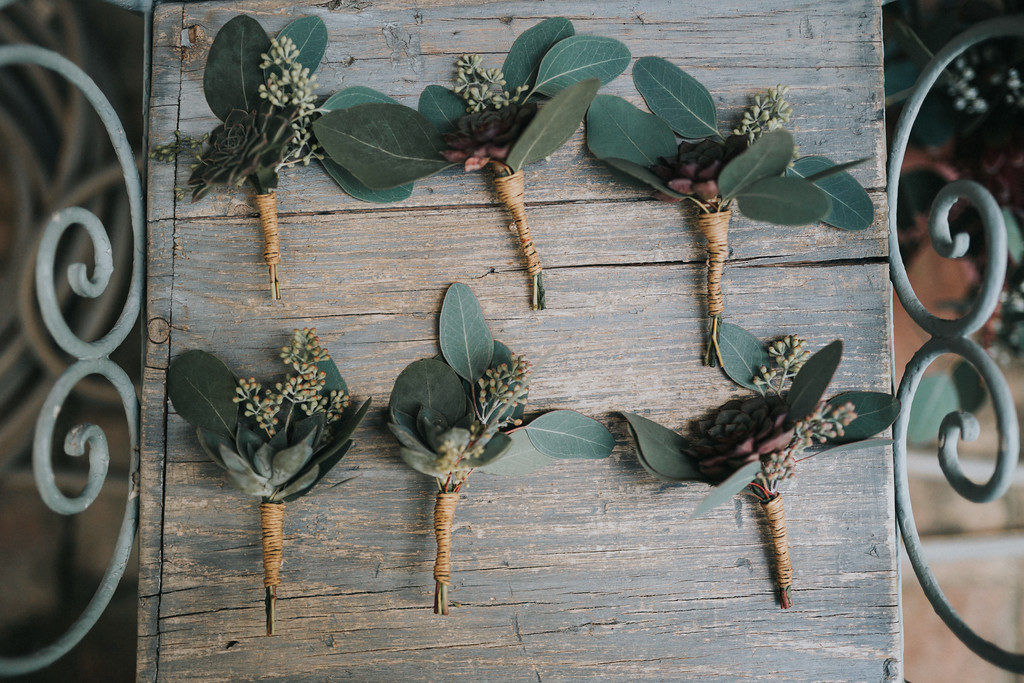 boutonnieres with green leaves and buds, casa felix, barcelona brides