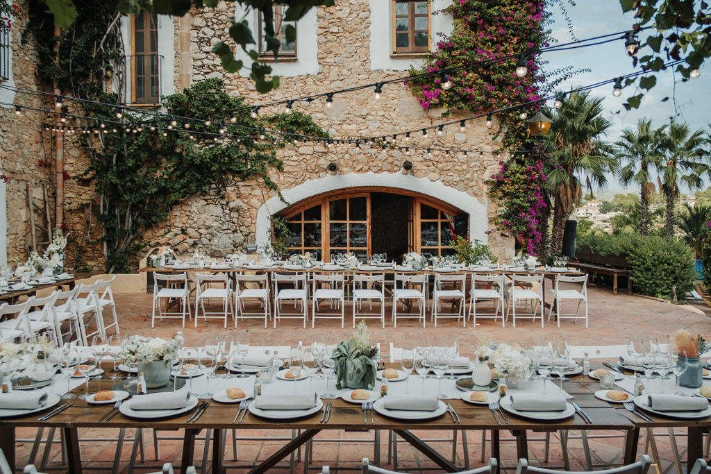 dining tables set up almiral de la font, barcelona brides, spain