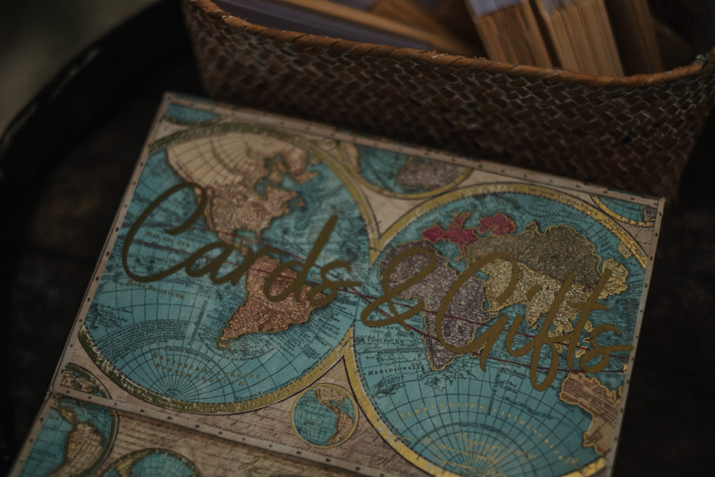 cards and gifts written on world map, almiral de la font, barcelona brides, spain